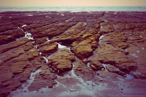 ReStartExperiment.com, beach bedrock, sunset on beach, costa rica, d.t. brown